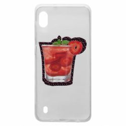 Чехол для Samsung A10 Strawberry cocktail on a background of flowers