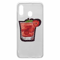 Чохол для Samsung A20 Strawberry cocktail on a background of flowers
