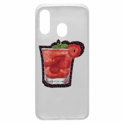 Чехол для Samsung A40 Strawberry cocktail on a background of flowers