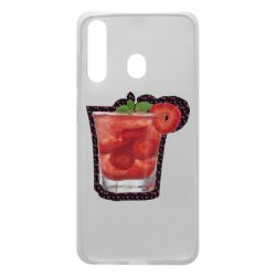 Чохол для Samsung A60 Strawberry cocktail on a background of flowers