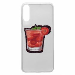 Чохол для Samsung A70 Strawberry cocktail on a background of flowers