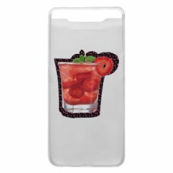Чехол для Samsung A80 Strawberry cocktail on a background of flowers