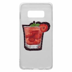 Чехол для Samsung S10e Strawberry cocktail on a background of flowers