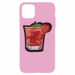 Чехол для iPhone 11 Strawberry cocktail on a background of flowers