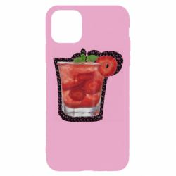 Чохол для iPhone 11 Pro Strawberry cocktail on a background of flowers