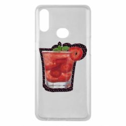 Чохол для Samsung A10s Strawberry cocktail on a background of flowers