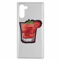 Чехол для Samsung Note 10 Strawberry cocktail on a background of flowers