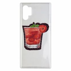 Чехол для Samsung Note 10 Plus Strawberry cocktail on a background of flowers