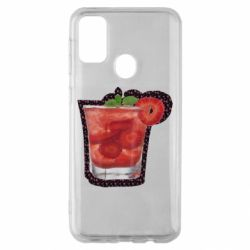 Чохол для Samsung M30s Strawberry cocktail on a background of flowers