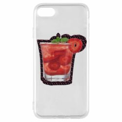 Чехол для iPhone 7 Strawberry cocktail on a background of flowers