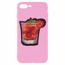 Чохол для iPhone 7 Plus Strawberry cocktail on a background of flowers