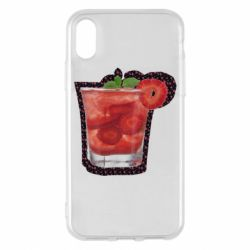 Чохол для iPhone X/Xs Strawberry cocktail on a background of flowers