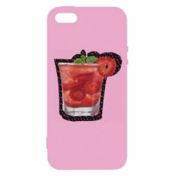 Чохол для iphone 5/5S/SE Strawberry cocktail on a background of flowers