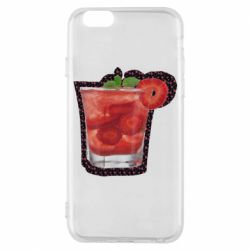 Чохол для iPhone 6/6S Strawberry cocktail on a background of flowers