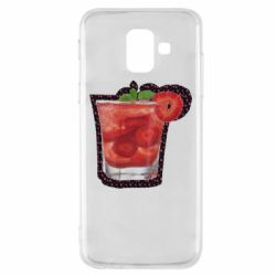 Чохол для Samsung A6 2018 Strawberry cocktail on a background of flowers