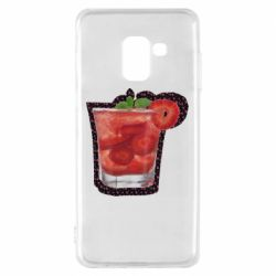 Чохол для Samsung A8 2018 Strawberry cocktail on a background of flowers