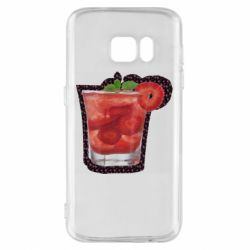 Чехол для Samsung S7 Strawberry cocktail on a background of flowers