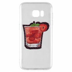 Чехол для Samsung S7 EDGE Strawberry cocktail on a background of flowers