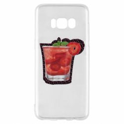 Чехол для Samsung S8 Strawberry cocktail on a background of flowers