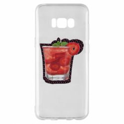 Чехол для Samsung S8+ Strawberry cocktail on a background of flowers