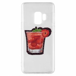 Чохол для Samsung S9 Strawberry cocktail on a background of flowers