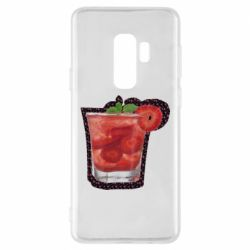 Чохол для Samsung S9+ Strawberry cocktail on a background of flowers