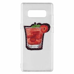 Чохол для Samsung Note 8 Strawberry cocktail on a background of flowers