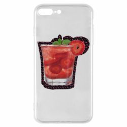 Чохол для iPhone 8 Plus Strawberry cocktail on a background of flowers