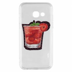 Чехол для Samsung A3 2017 Strawberry cocktail on a background of flowers