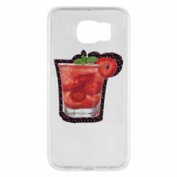 Чехол для Samsung S6 Strawberry cocktail on a background of flowers