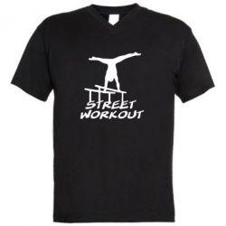 Мужская футболка  с V-образным вырезом Street workout - FatLine