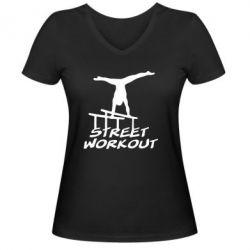 Женская футболка с V-образным вырезом Street workout - FatLine