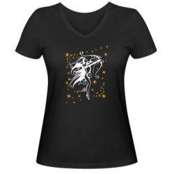 Женская футболка с V-образным вырезом Стрелец - FatLine