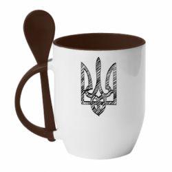 Кружка с керамической ложкой Striped coat of arms
