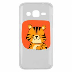 Чехол для Samsung J2 2015 Striped tiger with smile