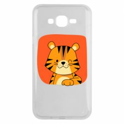 Чехол для Samsung J7 2015 Striped tiger with smile