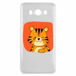 Чехол для Samsung J7 2016 Striped tiger with smile