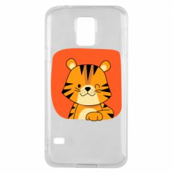 Чехол для Samsung S5 Striped tiger with smile