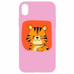 Чехол для iPhone XR Striped tiger with smile