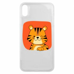 Чехол для iPhone Xs Max Striped tiger with smile