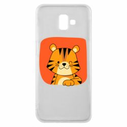 Чехол для Samsung J6 Plus 2018 Striped tiger with smile