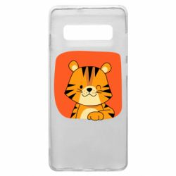 Чехол для Samsung S10+ Striped tiger with smile