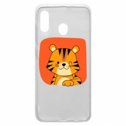 Чехол для Samsung A20 Striped tiger with smile