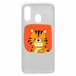 Чехол для Samsung A40 Striped tiger with smile