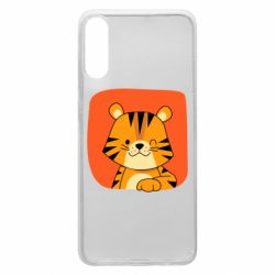 Чехол для Samsung A70 Striped tiger with smile