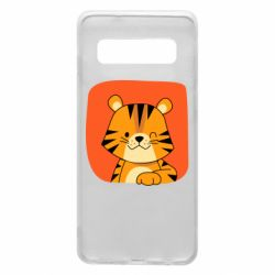 Чехол для Samsung S10 Striped tiger with smile