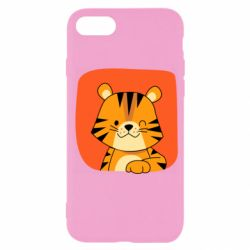 Чехол для iPhone 7 Striped tiger with smile