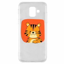 Чехол для Samsung A6 2018 Striped tiger with smile