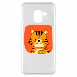 Чехол для Samsung A8 2018 Striped tiger with smile