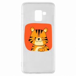 Чехол для Samsung A8+ 2018 Striped tiger with smile